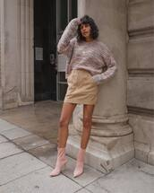 skirt,mini skirt,suede,zipped skirt,sock boots,high heels boots,oversized sweater,knitted sweater