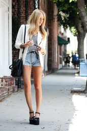 white,blazer,stripes,denim shorts,black bag,platform shoes,jacket,bag,shorts