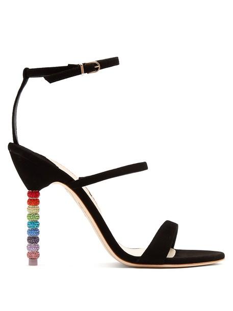 heel embellished sandals suede black shoes