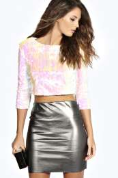 Nadia all over sequin crop top