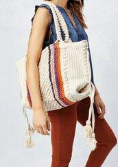 bag,retro bag,70s inspired bag,tote bag,beach bag,boho purse,tassel purse,tassel,boho,bohemian,boho chic,beach,summer bag