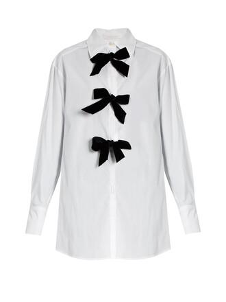 shirt bow cotton white black top