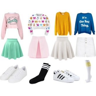 shirt pink cute girly green white pink skirt k-pop socks skirt