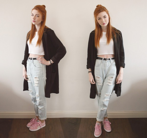 hannah louise fashion coat top jeans