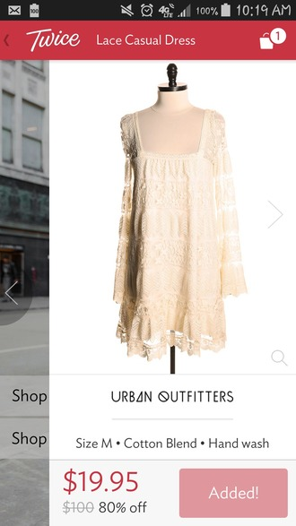 dress beige dress urban outfitters lace dress cotton dress hipster hippie boho gypsy hippie fairy like fashion style cute dress