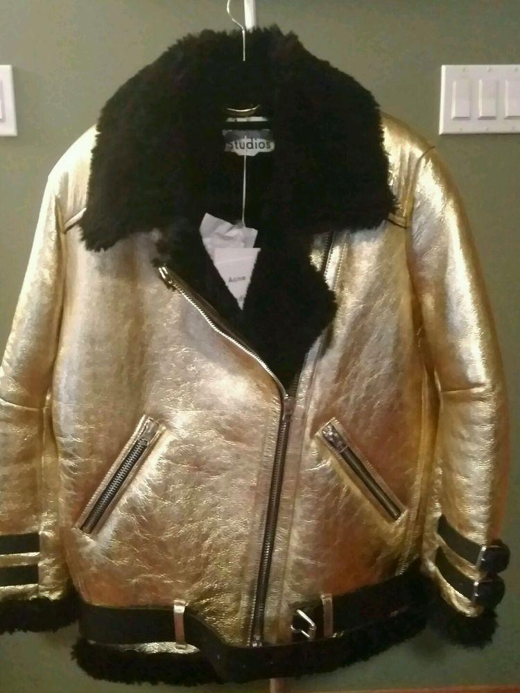 Acne Studios AUTH NWT Blk Shearling Fur Metallic Leather Velocite Moto Jacket 38