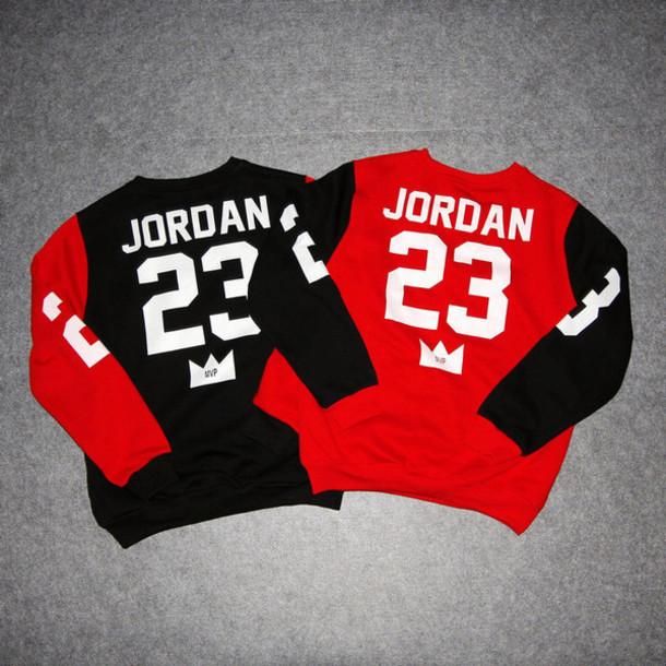 16e37410cb71 shirt sweatshirt 23 jordan sweatshirt black and red jordans