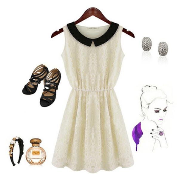 Платье Белое С Черным Воротником С Доставкой