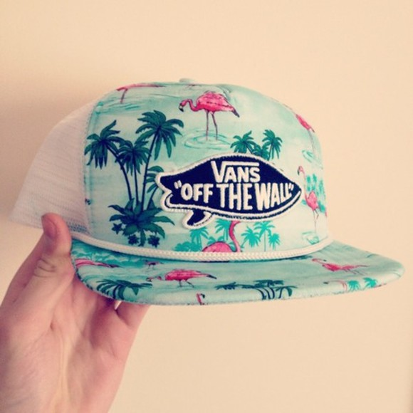 hat vans cute flowers flamingo blue beautiful summer perfect girl vans off the wall