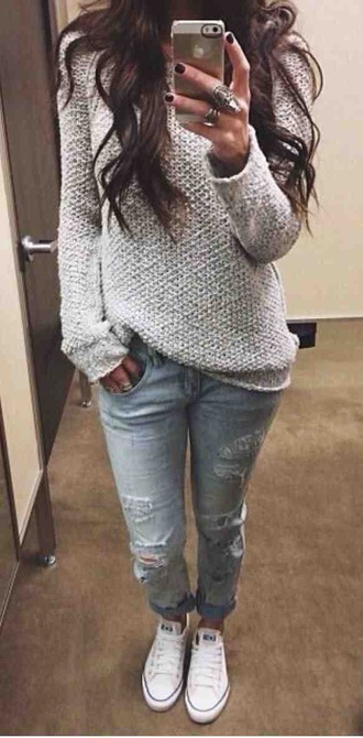 jeans pretty ripped jeans converse white light jeans sweater cozy fall outfits fall sweater cute