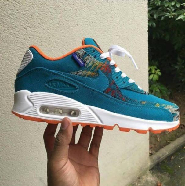 shoes nike nike shoes tribal pattern blue air max