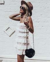 dress,sunglasses,hat,bag,mini dress,lace dress,white dress,ruffle dress,ruffle