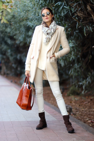 marilyn'scloset blogger pants bag coat shoes sunglasses scarf handbag blazer ankle boots white pants