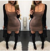 dress,clubwear,club dress,outfit,outfit idea,summer outfits,fall outfits,cute outfits,spring outfits,date outfit,party outfits,trendy,clothes,fashion,style,stylish,casual,casual dress,sexy party dresses,short party dresses,special occasion dress,sexy dress,short dress,party dress,cute dress,choker necklace,black choker,necklace,boots,black boots,suede boots,thigh high boots,high heels boots,over the knee boots,winter boots,heel boots,little black boots,shoes,black shoes,sexy shoes,summer shoes,cute shoes,party shoes,pumps,high heel pumps,long sleeves,cardigan,long cardigan,black cardigan,fringes,lipstick,dark lipstick