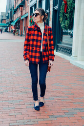 prosecco and plaid,blogger,shoes,bag,make-up,jacket,sunglasses,jeans,sweater,velvet shoes,skinny jeans,blue jeans,tartan,plaid,tortoise shell,tortoise shell sunglasses,fall outfits,tartan jacket,flats