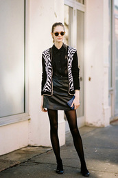 vanessa jackman,blogger,jacket,cardigan,blouse,zebra print,see through,sunglasses,black and white