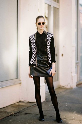 vanessa jackman blogger jacket cardigan blouse zebra print see through sunglasses black and white