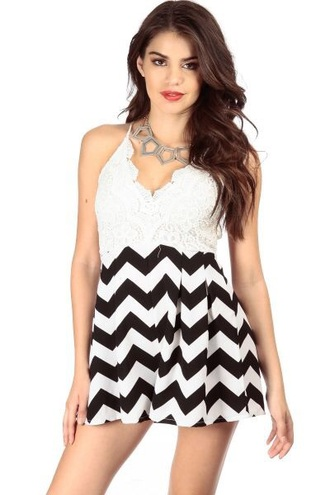 romper black and white chevron crochet lace