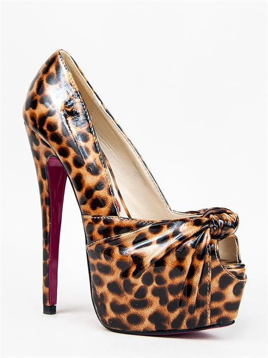 New Red Kiss Women Knotted Peep Toe High Heel Pumps Brown Sz Leopard Anatashia | eBay