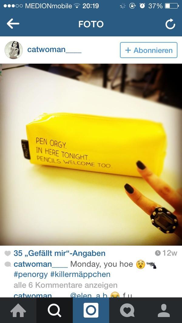 bag pencil case pencils yellow penorgy home accessory