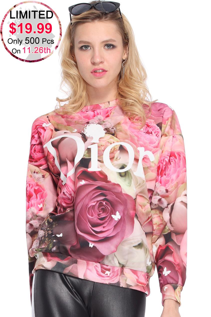 ROMWE | Letters & Roses Print Sweatshirt, The Latest Street Fashion