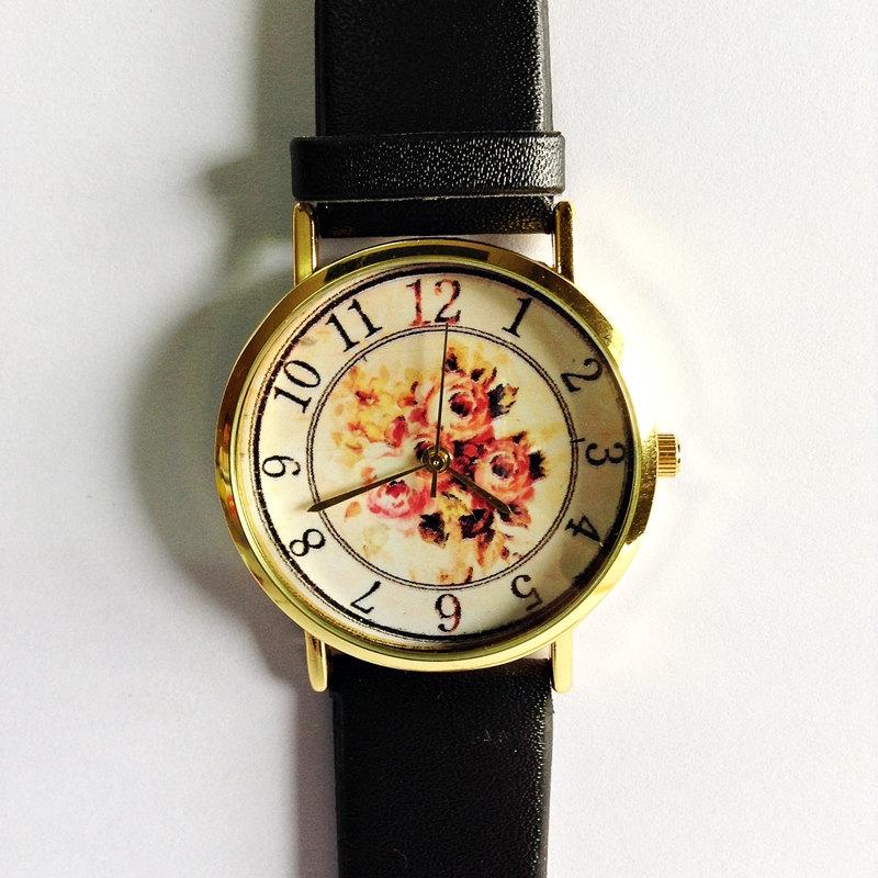 Floral Watch, Vintage Style Leather Watch, Women Watches, Boyfriend Watch, Black, Tan, White