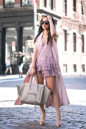 wendy's lookbook,blogger,ruffle,ruffle dress,sleeveless coat,celine bag,all pink everything,pink coat,duster coat,romper,summer outfits,monochrome outfit