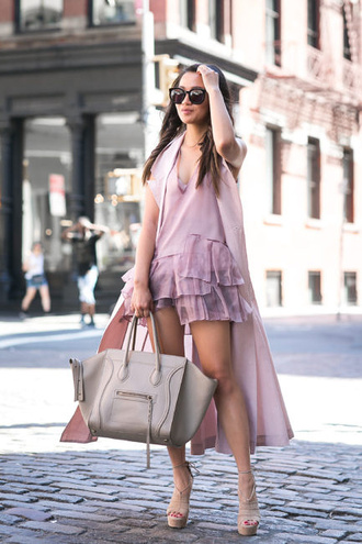 wendy's lookbook blogger ruffle ruffle dress sleeveless coat celine bag all pink everything pink coat duster coat romper summer outfits