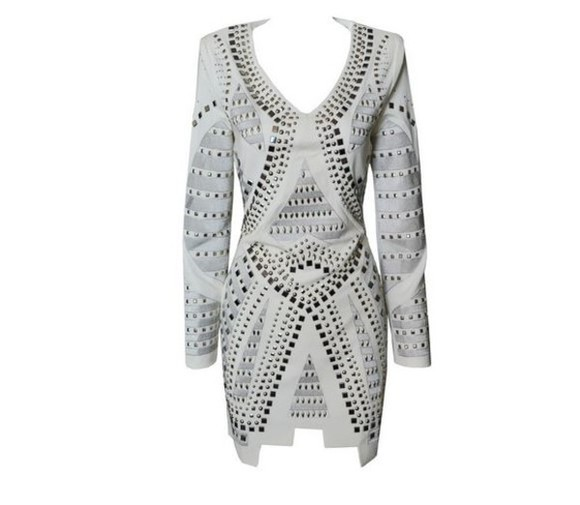 stud studded dress white aztec celebrity