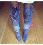 shoes,over the knee boots,knee high boots,denim boots