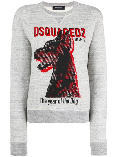 sweatshirt women dog cotton print grey sweater