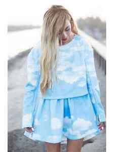 Harajuku cloudy sky print two piece dress