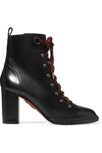leather ankle boots studded ankle boots lace leather black shoes