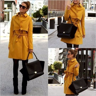 coat yellow trench coat long coat