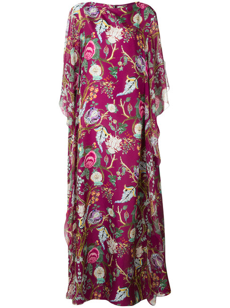 gown women floral silk purple pink dress