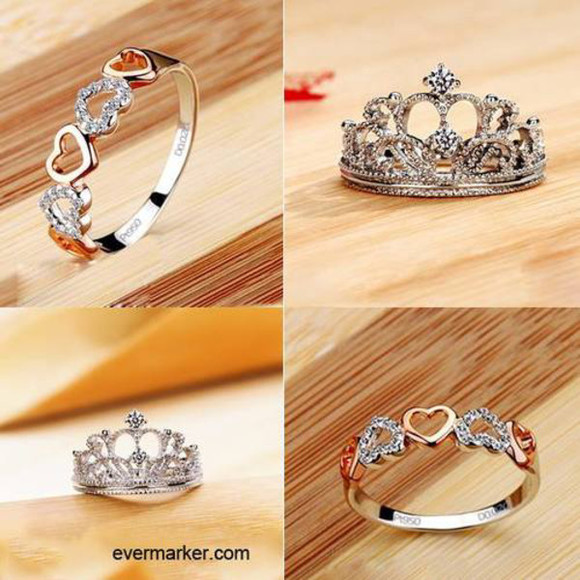 jewels jewelery cute silver rings crown ring heart ring silver beautiful girly