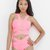 YONCE Bandage Cutout Bodysuit in Neon Pink at FLYJANE