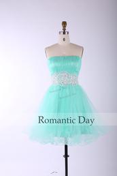 mint dress,a line tulle dress,homecoming dress,cocktail dress,bridesmaid,party dress,short dress,custom made dresses,strapless dress,mini dress
