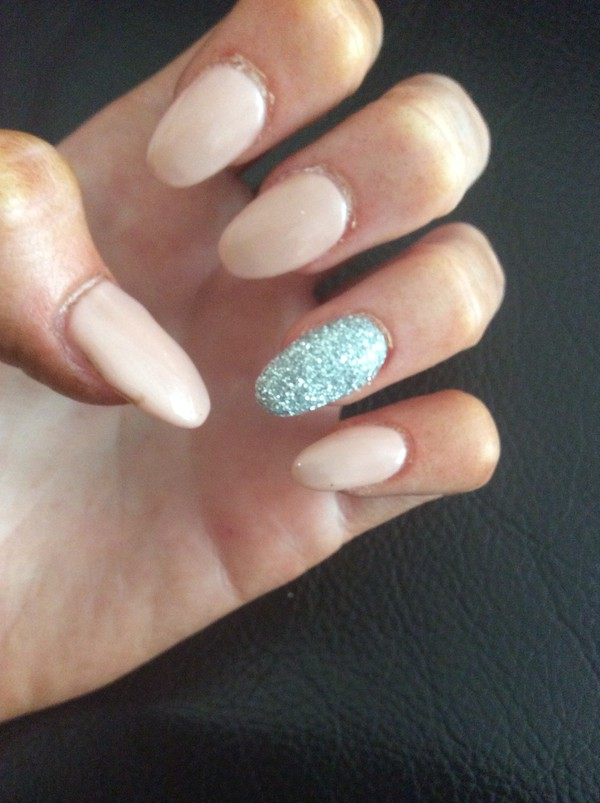 Aqua,mint, glittery nails, natural look, almond shape.pretty nails