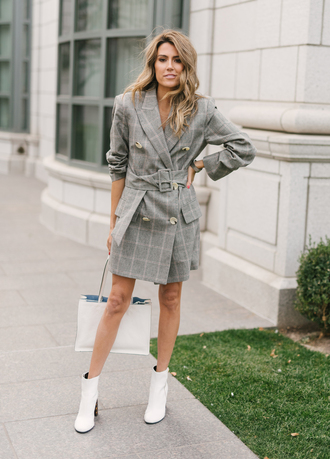 hello fashion blogger jacket dress shoes bag blazer dress white bag tote bag white boots ankle boots fall outfits