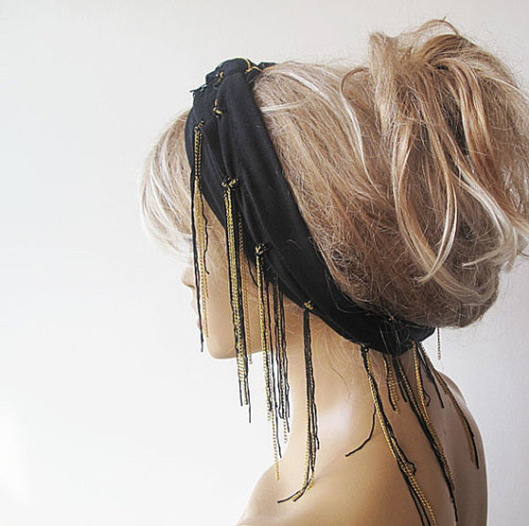 scarf black scarf black head scarf head chain headwrap summer boho headband hair scarfs hair head scarf