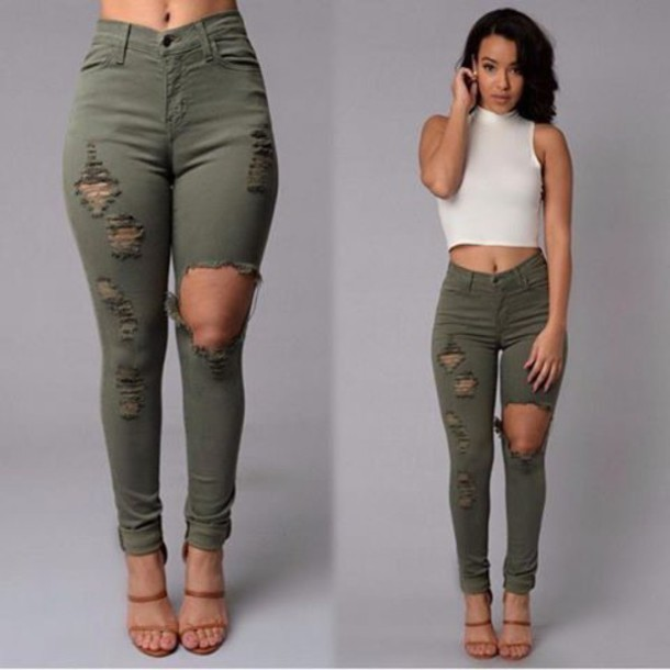 Jeans: pants, green, army green, khaki pants, ripped jeans, high ...