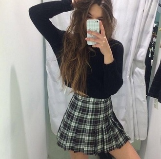 skirt pleated skirt plaid skirt shirt sweater cropped sweater black