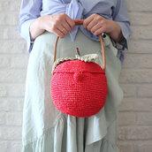 bag,apple,round bag,basket bag,raffia bag,top handle purse,red bag,fruits,summer purse