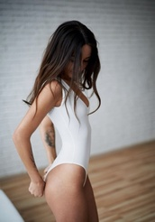 blouse,white one piece,leotard,top,bodysuit,one piece,white,summer
