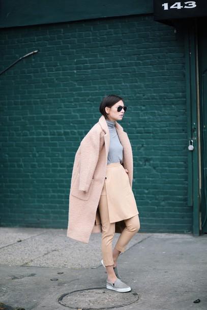 we wore what blogger coat cropped pants vans winter outfits camel coat boyfriend coat camel winter coat pants