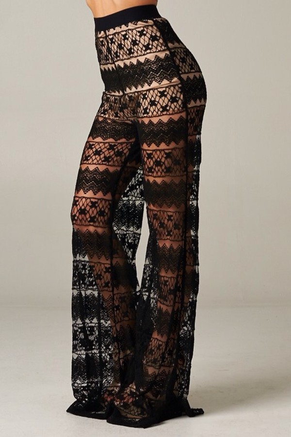 pants lace up black