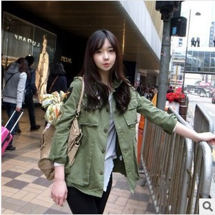 Free Shipping 2013 Autumn Women New Fashion Army Green Jacket with long Sleeves Military Uniform Coat  lady coat/jacket-in Basic Jackets from Apparel & Accessories on Aliexpress.com