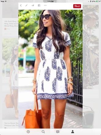 dress pattern blue white
