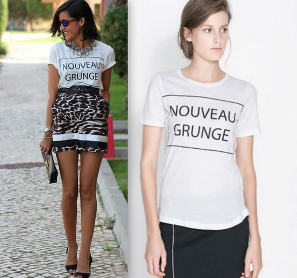 t-shirt style top chic vogue nouveau grunge t-shirt casual chic casual blogger shirt blogger fashionista white tee